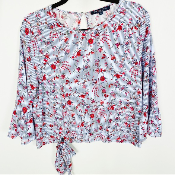 one clothing Tops - One Clothing Floral Striped Bell Sleeve Blouse